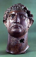 Greek Art:  Bronze head of Hadrian--from a statue found at London Bridge.  Roman 2nd century A.D.  Trustees of the British Museum 1986.