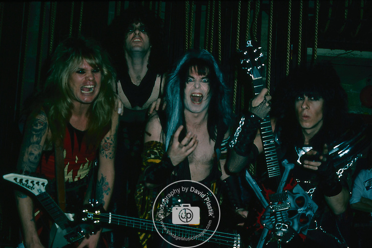 WASP -Blackie Lawless, Chris Holmes, Randy Piper, Steve Riley- Backstage at the Tower Theater in Phila, Penn Jan 1985.