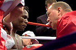 Uncasville, CT:   Lovemore N'Dou in the ring during his IBF Junior Welterweight Championship fight against Paulie Malignaggi  at the Mohegan Sun Casino, June 16th, 2007. Malignaggi won the belt from N'Dou by unanimous decision.. Photo by Thierry Gourjon.