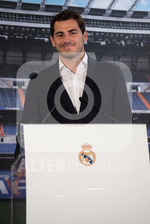 Porto FC new goalkeeper, Iker Casillas, attends to old team tribute, Real Madrid and say goodbye to the fans at Santiago Bernabeu Stadium in Madrid. July 13. 2015.<br />  (ALTERPHOTOS/BorjaB.Hojas)