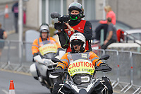 Pictured: A videographer on top of a Cycle Event motorcycle. Sunday 15 September 2019<br /> Re: Ironman triathlon event in Tenby, Wales, UK.