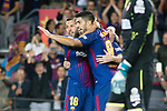 Luis Alberto Suarez Diaz (R) of FC Barcelona celebrates after scoring his goal with Jordi Alba Ramos (L) of FC Barcelona during the La Liga match between FC Barcelona vs RCD Espanyol at the Camp Nou on 09 September 2017 in Barcelona, Spain. Photo by Vicens Gimenez / Power Sport Images
