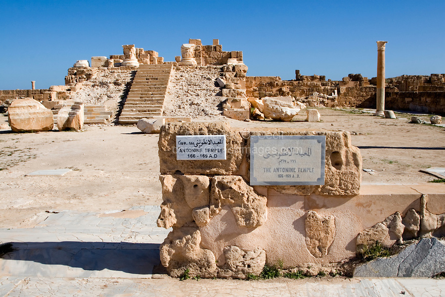 Sabratha, Libya, North Africa - Roman ruins.  Antonine Temple, 2nd century, reconstructed 1920s.