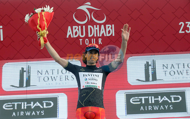 Marco Canola (ITA) Nippo-Vini Fantini wears the Black Jersey at the end of Stage 2 the Nation Towers Stage of the 2017 Abu Dhabi Tour, running 153km around the city of Abu Dhabi, Abu Dhabi. 24th February 2017<br /> Picture: ANSA/Matteo Bazzi | Newsfile<br /> <br /> <br /> All photos usage must carry mandatory copyright credit (&copy; Newsfile | ANSA)