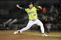 Pitcher Bryce Hutchinson (27) of the Columbia Fireflies delivers a pitch in a game against the Charleston RiverDogs on Saturday, April 6, 2019, at Segra Park in Columbia, South Carolina. Columbia won, 3-2. (Tom Priddy/Four Seam Images)
