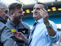 Blackburn Rovers' Manager Tony Mowbray with Oxford Uniteds Manager Karl Robinson <br /> <br /> Photographer Rachel Holborn/CameraSport<br /> <br /> The EFL Sky Bet League One - Blackburn Rovers v Oxford United - Saturday 5th May 2018 - Ewood Park - Blackburn<br /> <br /> World Copyright &copy; 2018 CameraSport. All rights reserved. 43 Linden Ave. Countesthorpe. Leicester. England. LE8 5PG - Tel: +44 (0) 116 277 4147 - admin@camerasport.com - www.camerasport.com