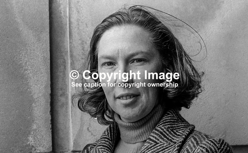 Sheena Conn, Ulster Unionist, member, N Ireland Assembly, for Londonderry, October, 1973, 197310000651SC<br /> <br /> Copyright Image from Victor Patterson, 54 Dorchester Park, <br /> Belfast, UK, BT9 6RJ<br /> <br /> t1: +44 28 9066 1296 (from Rep of Ireland 048 9066 1296)<br /> t2: +44 28 9002 2446 (from Rep of Ireland 048 9002 2446)<br /> m: +44 7802 353836<br /> <br /> e1: victorpatterson@me.com<br /> e2: victorpatterson@gmail.com<br /> <br /> www.victorpatterson.com<br /> <br /> Please see my Terms and Conditions of Use at VICTORPATTERSON.COM. It is IMPORTANT that you familiarise yourself with them.<br /> <br /> Images used on the Internet must be visibly watermarked i.e. &copy;VICTORPATTERSON.COM within the body of the image and copyright metadata must not be deleted. Images used on the Internet have a size restriction of 4kbs and are chargeable at the then current NUJ rates.<br /> <br /> This image is only available for the use of the download recipient i.e. television station, newspaper, magazine, book publisher, etc, and must not be passed on to any third party. It is also downloaded on condition that each and every usage is notified within 7 days to victorpatterson@me.com<br /> <br /> The right of Victor Patterson to be identified as the author is asserted in accordance with The Copyright Designs And Patents Act (1988).