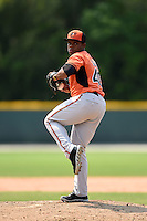 Baltimore Orioles pitcher Francisco Jimenez (40) during a minor league spring training game against the Boston Red Sox on March 20, 2015 at the Buck O'Neil Complex in Sarasota, Florida.  (Mike Janes/Four Seam Images)