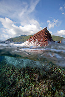 A split-water view of Shark Fin Rock, a popular scuba diving site of the Cocos Island, off the coast of Costa Rica.