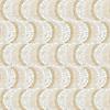 Moonshadow, a hand-cut stone mosaic, shown in tumbled Calacatta Tia, Crema Marfil, and Renaissance Bronze.