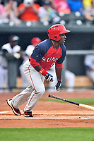 Northern Division right fielder Daniel Johnson (7) of the Hagerstown Suns swings at a pitch during the South Atlantic League All Star Game at Spirit Communications Park on June 20, 2017 in Columbia, South Carolina. The game ended in a tie 3-3 after seven innings. (Tony Farlow/Four Seam Images)