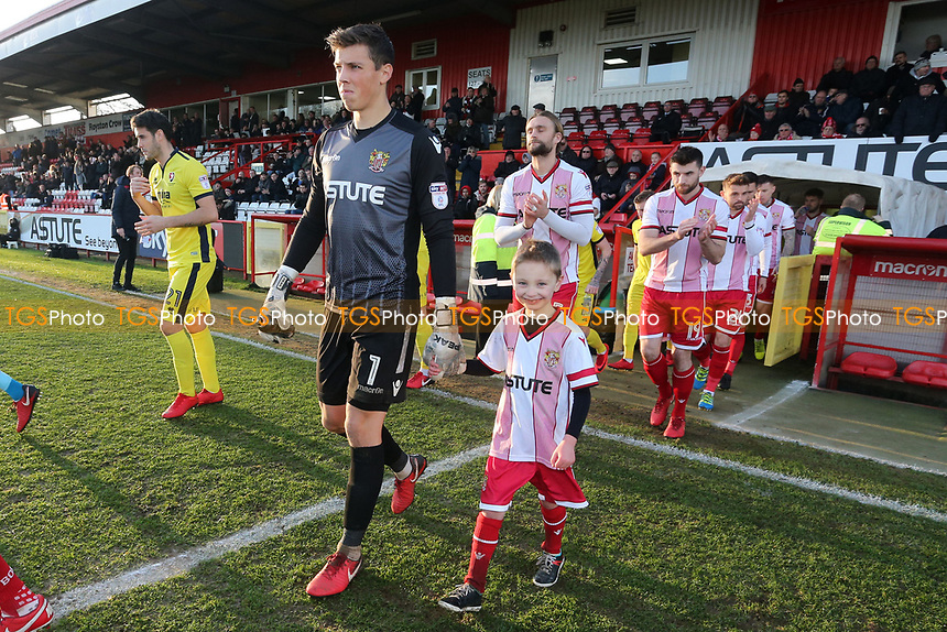 The teams take to the field during Stevenage vs Cheltenham Town, Sky Bet EFL League 2 Football at the Lamex Stadium on 1st January 2018
