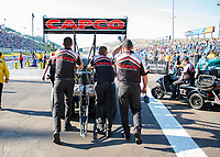 Jul 19, 2019; Morrison, CO, USA; Crew members for NHRA top fuel driver Steve Torrence during qualifying for the Mile High Nationals at Bandimere Speedway. Mandatory Credit: Mark J. Rebilas-USA TODAY Sports