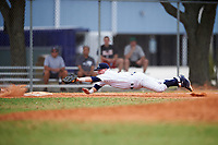 Western Connecticut Colonials third baseman Bill Buscetto (16) makes a diving attempt to tag the runner during the first game of a doubleheader against the Edgewood College Eagles on March 13, 2017 at the Lee County Player Development Complex in Fort Myers, Florida.  Edgewood defeated Western Connecticut 3-0.  (Mike Janes/Four Seam Images)