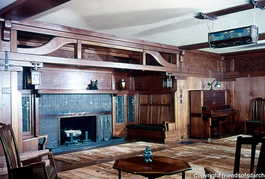 Greene & Greene: Gamble House, Pasadena CA. Living room.