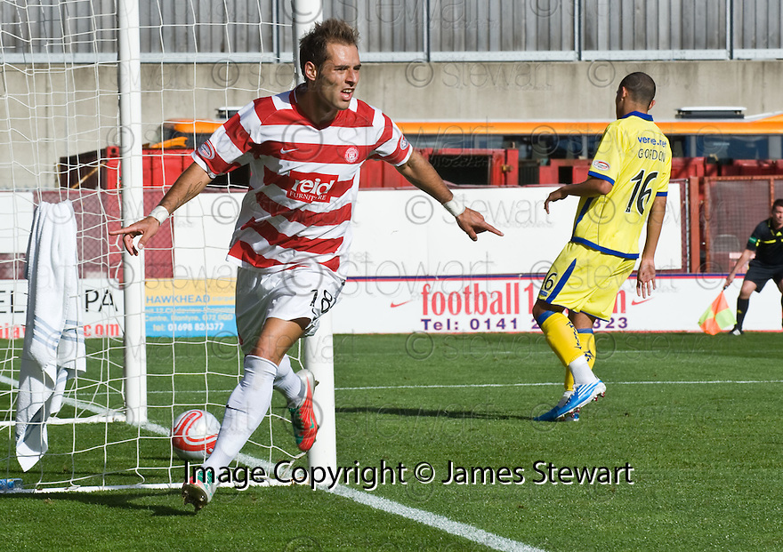25/09/2010   Copyright  Pic : James Stewart.sct_jsp003_hamilton_v_kilmarnock  .::  FLAVIO PAIXAO CELEBRATES AFTER HE HEADS HOME ACCIES FIRST GOAL  ::.James Stewart Photography 19 Carronlea Drive, Falkirk. FK2 8DN      Vat Reg No. 607 6932 25.Telephone      : +44 (0)1324 570291 .Mobile              : +44 (0)7721 416997.E-mail  :  jim@jspa.co.uk.If you require further information then contact Jim Stewart on any of the numbers above.........