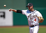 Reno Aces' infielder Taylor Harbin makes a play against the Tacoma Rainiers during the minor league baseball game in Reno, Nev., on Wednesday, May 30, 2012. The Aces won 13-5..Photo by Cathleen Allison
