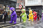 London, UK. 20 November 2015. Teletubbies on their way to the parade. The 2016 Hamleys Christmas Toy Parade takes place along Regent Street, which went traffic-free for the day. The parade organised by the world-famous toy store Hamleys featured over many of the nation's favourite children's characters along with entertainers, a marching band and giant balloons. The parade is modelled on Macy's annual Thanksgiving Parade in New York.