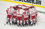 Wisconsin Badgers huddle prior to opening night against the Bemidji State Beavers at the LaBahn Arena Friday, October 19, 2012 in Madison, Wis. (Photo by David Stluka)