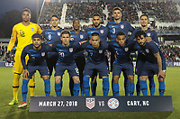 Cary, N.C. - Tuesday March 27, 2018: USMNT starting eleven during an International friendly game between the men's national teams of the United States (USA) and Paraguay (PAR) at Sahlen's Stadium at WakeMed Soccer Park.
