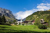 Switzerland, Canton Valais, Inden: village at Dala Valley famous, Bernese Alps at background | Schweiz, Kanton Wallis, Inden: Dorf im Dalatal, im Hintergrund Berge der Berner Alpen