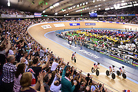Pictures by SWpix.com - 04/03/2016 - Cycling - 2016 UCI Track Cycling World Championships, Day 3 - Lee Valley VeloPark, London, England - Women's Team Pursuit Final  - Great Britain - TROTT Laura, BARKER Elinor,<br /> HORNE Ciara, ROWSELL-SHAND Joanna celebrate win for bronze