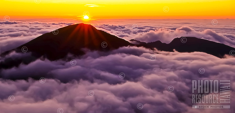 Sunrise over Haleakala in Haleakala National Park, Maui.