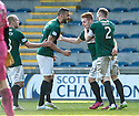 Hib's Fraser Fyvie (centre) is congratulated by David Gray (2) and Liam Fontaine (5) after he scores their goal.