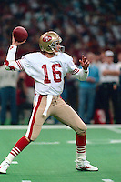 NEW ORLEANS, LA - Quarterback Joe Montana of the San Francisco 49ers in action during Super Bowl XXIV against the Denver Broncos at the Superdome in New Orleans, Louisiana in January of 1990. Photo by Brad Mangin