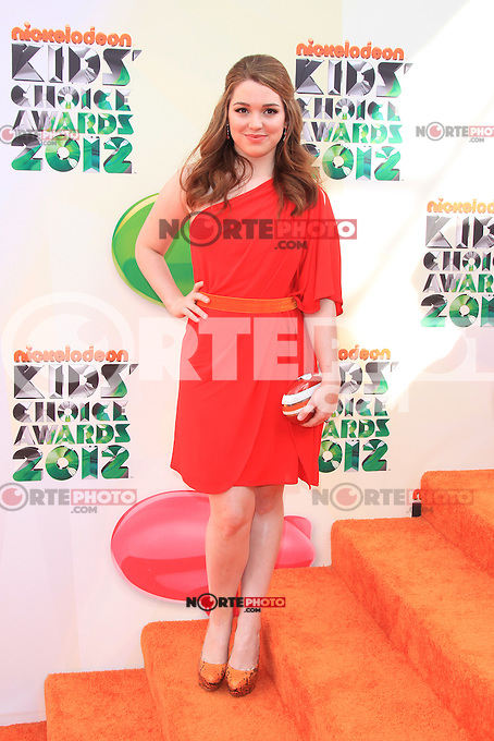 Jennifer Stone at Nickelodeon's 25th Annual Kids' Choice Awards at The Galen Center on March 31, 2012 in Los Angeles, California. &copy; mpi26/MediaPunch Inc. /NortePhoto<br />