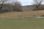 Part of the breakaway Alexandre Geniez (FRA) AG2R La Mondiale and teammate Nico Denz (GER) on sector 5 Lucignano d'Asso during Strade Bianche 2019 running 184km from Siena to Siena, held over the white gravel roads of Tuscany, Italy. 9th March 2019.<br /> Picture: Eoin Clarke | Cyclefile<br /> <br /> <br /> All photos usage must carry mandatory copyright credit (© Cyclefile | Eoin Clarke)