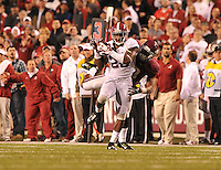 NWA Media/Michael Woods --10/11/2014-- w @NWAMICHAELW...Alabama defender Landon Collins intercepts the pass intended for Arkansas receiver Jonathan Williams in the 4th quarter of Saturdays game at Razorback Stadium in Fayetteville.