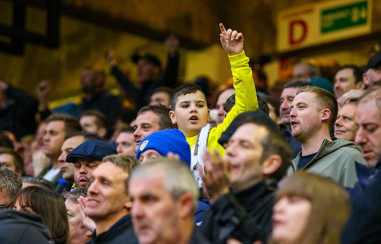 Leeds United fans react to the victory<br /> <br /> Photographer Alex Dodd/CameraSport<br /> <br /> The EFL Sky Bet Championship - Sheffield United v Leeds United - Saturday 1st December 2018 - Bramall Lane - Sheffield<br /> <br /> World Copyright © 2018 CameraSport. All rights reserved. 43 Linden Ave. Countesthorpe. Leicester. England. LE8 5PG - Tel: +44 (0) 116 277 4147 - admin@camerasport.com - www.camerasport.com