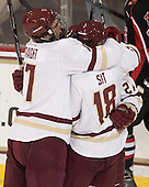 Destry Straight (BC - 17), Michael Sit (BC - 18), Quinn Smith (BC - 27) - The Boston College Eagles defeated the visiting University of New Brunswick Varsity Reds 6-4 in an exhibition game on Saturday, October 4, 2014, at Kelley Rink in Conte Forum in Chestnut Hill, Massachusetts.