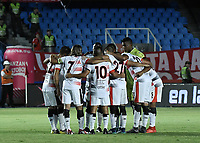 CALI - COLOMBIA, 02-05-2019: Jugadores del Cúcuta oran previo al partido entre América de Cali y Cúcuta Deportivo por la fecha 19 de la Liga Águila II 2018 jugado en el estadio Pascual Guerrero de la ciudad de Cali. / Players of Cucuta pray prior the match for the date 19 as part of Aguila League I 2019 between America Cali and Cucuta Deportivo played at Pascual Guerrero stadium in Cali. Photo: VizzorImage / Gabriel Aponte / Staff