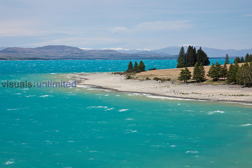 Lake Pukaki colored by glacial silt, Mt. Cook National Park, South Island, New Zealand