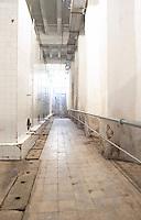 Enormous concrete fermentation and storage vats covered in white tiles. Kantina e Pijeve Gjergj Kastrioti Skenderbeu Skanderbeg winery, Durres. Albania, Balkan, Europe.