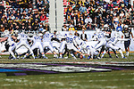Middle Tennessee Blue Raiders kicker Cody Clark (89) in action during the Armed Forces Bowl game between the Middle Tennessee Blue Raiders and the Navy Midshipmen at the Amon G. Carter Stadium in Fort Worth, Texas. Navy defeated Middle Tennessee 24 to 6.