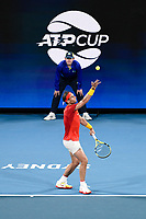 10th January 2020; Sydney Olympic Park Tennis Centre, Sydney, New South Wales, Australia; ATP Cup Australia, Sydney, Day 8; Belgium versus Spain;David Goffin of Belgium versus Rafael Nadal of Spain; Rafael Nadal of Spain serves to David Goffin of Belgium - Editorial Use