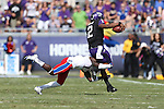 TCU Horned Frogs quarterback Trevone Boykin (2) in action during the game between the Kansas Jayhawks and the TCU Horned Frogs  at the Amon G. Carter Stadium in Fort Worth, Texas. TCU defeats Kansas 27 to 17.