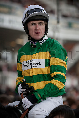 13.04.2012 Aintree, England. The Grand National Festival Ladies Day. Jockey A P McCoy pictured after the winning the first race of the day, the Tangle Teezer Top Novices' Race on his mount Darlan.