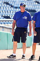 West Michigan Whitecaps pitching coach Mark Johnson during a game vs. the South Bend Silver Hawks at Fifth Third Field in Comstock Park, Michigan August 16, 2010.   West Michigan defeated South Bend 3-2.  Photo By Mike Janes/Four Seam Images