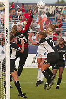 Nicole Williams of the New York Power clears the ball from a corner kick during the Power's 2-0 loss to the Atlanta Beat on June 9th at Mitchel Athletic Complex, Uniondale, New York.