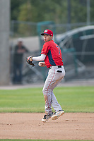 Orem Owlz shortstop Livan Soto (7) prepares to make a throw to first base during a Pioneer League game against the Missoula Osprey at Ogren Park Allegiance Field on August 19, 2018 in Missoula, Montana. The Missoula Osprey defeated the Orem Owlz by a score of 8-0. (Zachary Lucy/Four Seam Images)