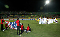 The United States' under 20 soccer team stands for the American National Anthem before the game against Cameroon before the FIFA Under 20 World Cup Group C Match between the United States and Cameroon at the Mubarak Stadium on September 29, 2009 in Suez, Egypt.