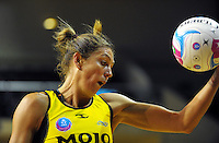 Irene Van Dyk takes a pass during the ANZ Netball Championship match between the Central Pulse and Waikato Bay Of Plenty Magic at TSB Bank Arena, Wellington, New Zealand on Monday, 30 March 2015. Photo: Dave Lintott / lintottphoto.co.nz