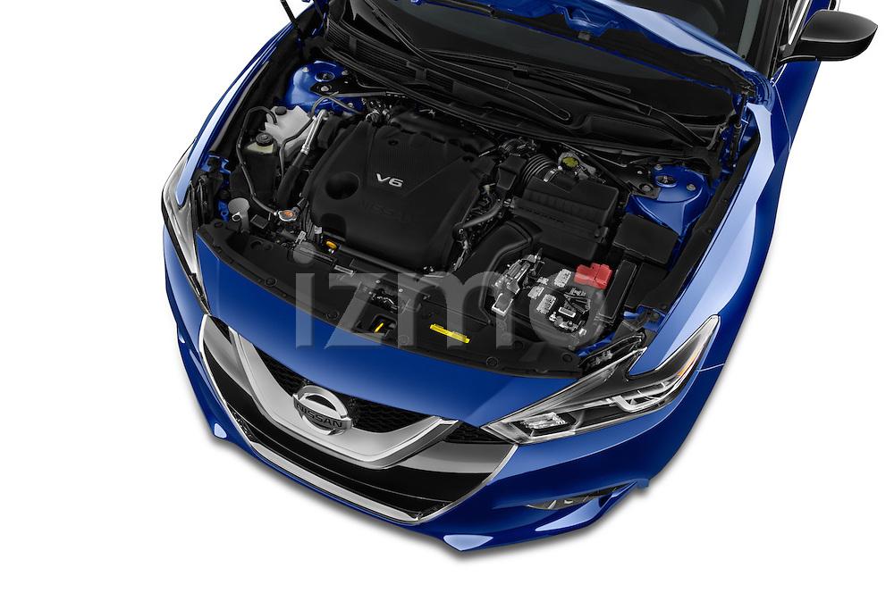 Car Stock 2016 Nissan Maxima S 4 Door Sedan Engine high angle detail view