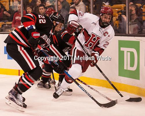 Tanner Pond (NU - 22), Devin Tringale (Harvard - 22) - The Harvard University Crimson defeated the Northeastern University Huskies 4-3 in the opening game of the 2017 Beanpot on Monday, February 6, 2017, at TD Garden in Boston, Massachusetts.