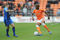 Blackpool's Armand Gnanduillet under pressure from Gillingham's Barry Fuller<br /> <br /> Photographer Kevin Barnes/CameraSport<br /> <br /> The EFL Sky Bet League One - Blackpool v Gillingham - Saturday 4th May 2019 - Bloomfield Road - Blackpool<br /> <br /> World Copyright © 2019 CameraSport. All rights reserved. 43 Linden Ave. Countesthorpe. Leicester. England. LE8 5PG - Tel: +44 (0) 116 277 4147 - admin@camerasport.com - www.camerasport.com