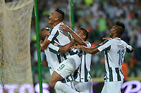 MEDELLIN - COLOMBIA -15 -03-2015: Jefferson Duque, (2Izq.) jugador de Atletico Nacional, celebra el gol anotado al Deportivo Independiente Medellin, durante partido entre Atletico Nacional y Deportivo Independiente Medellin por la fecha 10 la Liga Aguila I 2015, jugado en el estadio Atanasio Girardot de la ciudad de Medellin.  /Jefferson Duque,  (2L) player of Atletico Nacional  celebrates a scored goal to Deportivo Independiente Medellin during a match for the date 10 between Atletico Nacional and Deportivo Independiente Medellin the Liga Aguila I 2015 at the Atanasio Girardot stadium in Medellin city. Photo: VizzorImage. / Leon Monsalve / Str.